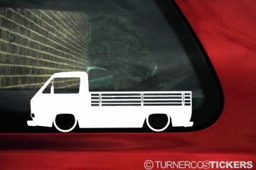 2x Low car outline stickers - for Volkswagen VW T25 / T3 Single cab, pickup , classic Transporter